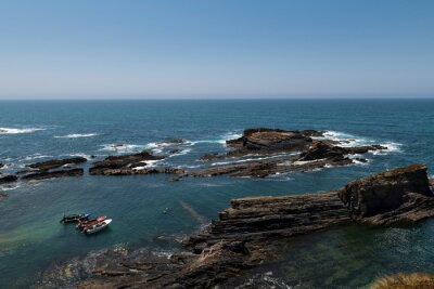View of the fishing port of Lapa das Pombas at Almograve, Odemira, Portugal.