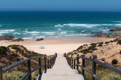 View of the scenic Malhao Beach (Praia do Malhao) in Porto Covo, in Alentejo, Portugal.