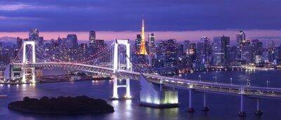 Obraz view of Tokyo Bay , Rainbow bridge and Tokyo Tower landmark