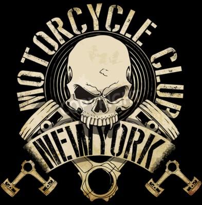 Obraz Vintage Biker Skull Emblem Graphic Tee
