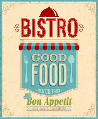 Obraz Vintage Bistro Poster. Ilustracji wektorowych.