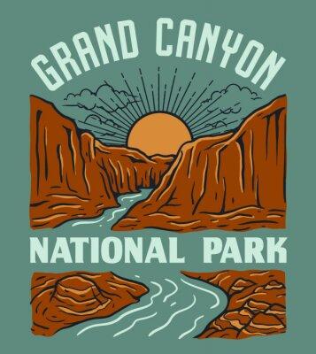 Obraz Vintage Grand Canyon National Park Illustration Design. Landscape with mountains and river