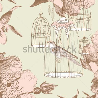 Obraz vintage karty z ptakiem w klatce
