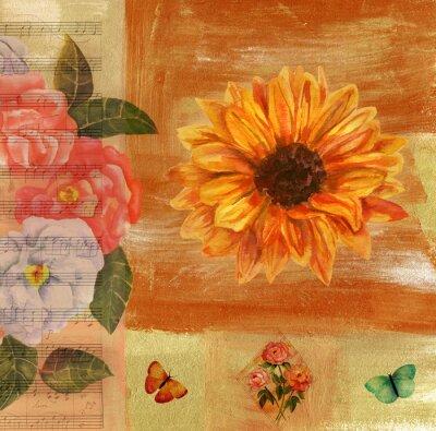 Obraz Vintage kolaż z nut, motyli, róż i Sunflow