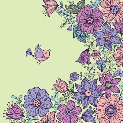 Obraz Vintage kwiatowy szwu. ilustracji wektorowych.