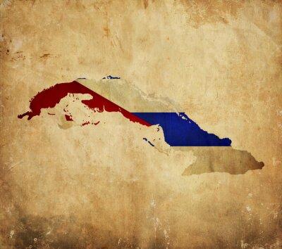 Obraz Vintage mapę Kuby na grunge papieru