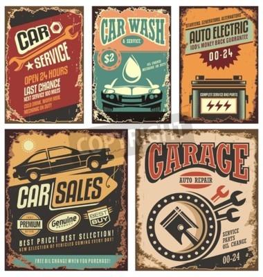 Obraz Vintage metalowe znaki obsługi samochodów i plakaty