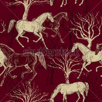Obraz Vintage piękne tło z końmi i drzewami, kreatywne las, retro wzór, tkaniny sztuki, wektor fantasy tapety do dekoracji i projektowania