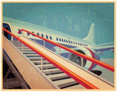 Obraz Vintage plakat z samolotem