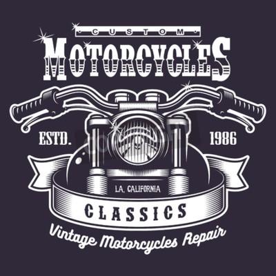 Obraz Vintage print motocykla. Monochromatyczny na ciemnym tle