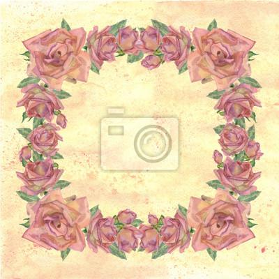 Vintage ramki z róż akwarela na żółtym tle