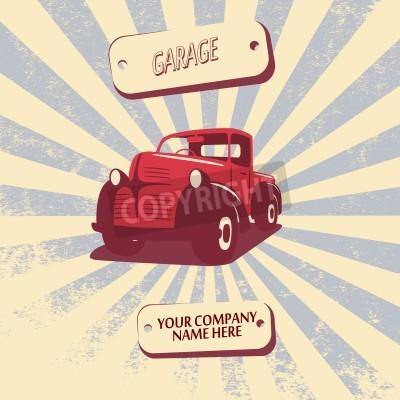 Obraz Vintage retro samochód pick-up ilustracja wektorowa nadaje się do promocji, projekty t-shirt, itp.