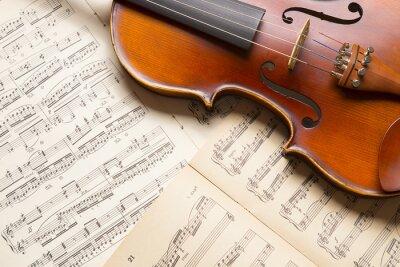 Obraz Vintage skrzypce na arkuszu muzyki.