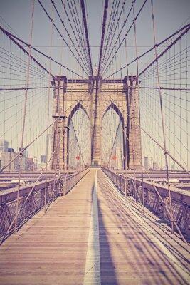 Obraz Vintage stonowanych zdjęcie Brooklyn Bridge, NYC, USA.