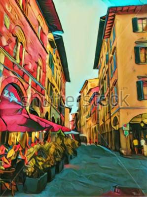 Obraz Vintage włoska mała ulica we Florencji. Tradycyjna stara architektura Włoch. Malarstwo olejne dużych rozmiarów. Nowoczesna grafika impresjonistyczna. Kreatywny druk artystyczny na płótnie, plakacie lu
