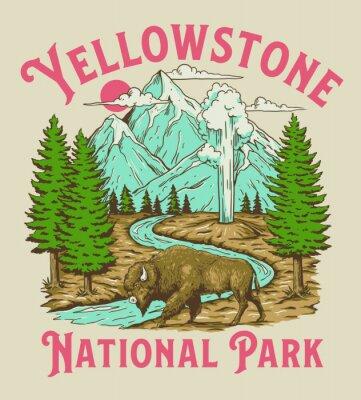 Obraz Vintage Yellowstone National Park Bison Mountain Geyser Scene
