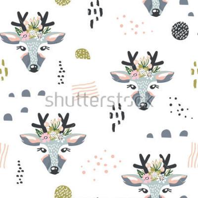 Obraz W modelu z deers, kwieciści elementy, gałąź. Twórczy tło lasu. Idealny do odzieży dziecięcej, tkanin, tkanin, przedszkoli, papier pakowy. Ilustracja ukształtowana