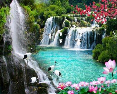 Obraz wallpaper 3D  natural waterfall view2