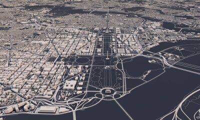 Obraz Washington DC city map 3D Rendering. Aerial satellite view.