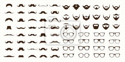 Obraz Wąsy, broda i okulary w stylu zestaw