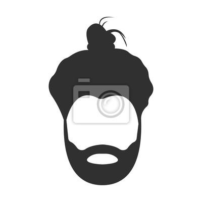 Obraz Wąsy, broda i włosy czarne proste ikony. Ilustracja do projektowania stron internetowych i mobilnych.
