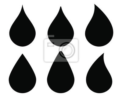 Obraz Water drop shape icon symbol set. Flat style outline. Vector illustration image. Plumbing logo. Isolated on white background.