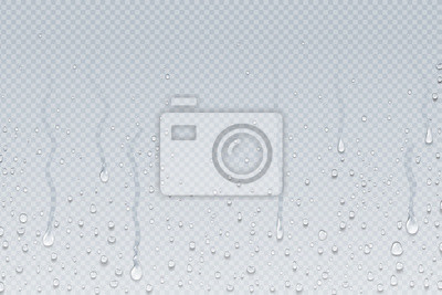 Obraz Water drops background. Shower steam condensation drips on transparent glass, rain drops on window. Vector realistic shower water drops