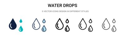 Obraz Water drops icon in filled, thin line, outline and stroke style. Vector illustration of two colored and black water drops vector icons designs can be used for mobile, ui, web