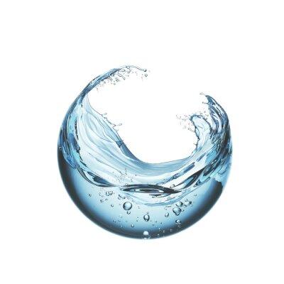 Obraz water liquid splash in sphere shape isolated on white background, 3d illustration.