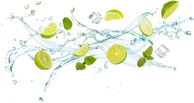 Obraz water splash with mint leaves, slices of lime and ice cubes isolated on white background, concept of summer refreshments