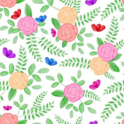 Watercolor floral seamless pattern. Red, pink and yellow roses with green leaves, on white isolated background. Decorated with small wildflowers.