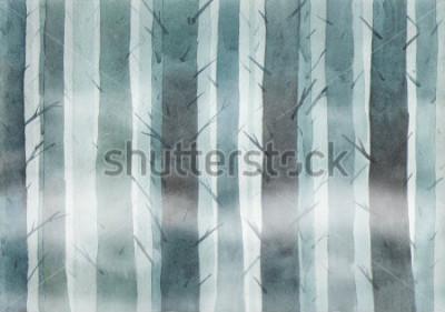 Obraz Watercolor forest. Foggy wood.