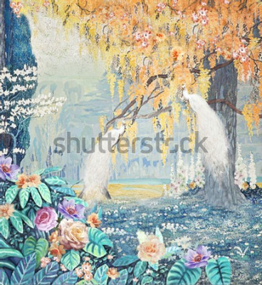 Obraz Watercolor hand-painted landscape rose peacock yellow tree