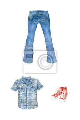 Watercolor illustration. Clothes (jeans, shirt, sneakers)