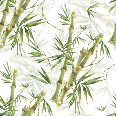 Obraz Watercolor illustration of bamboo leaves , seamless pattern on white background