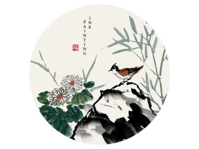 Obraz Watercolor ink paint art vector texture illustration bird on a rock and chrysanthemum flower bamboo. Translation for the Chinese word : Blessing