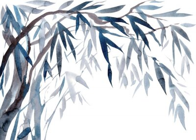Obraz Watercolor Leaves and tree branches,   Traditional Japanese ink painting sumi-e.