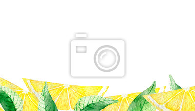 Watercolor painting banner of yellow lemons with green mint leaves isolated on white background. Watercolor hand painted illustration. Bright fruit and leaf pattern, Wallpaper or textile illustration,