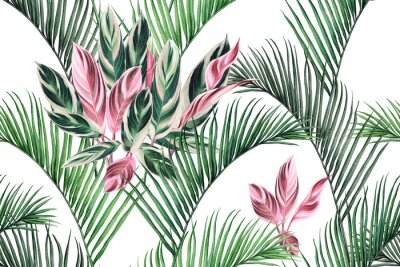 Obraz Watercolor painting colorful coconut,green,pink leaves seamless pattern background.Watercolor hand drawn illustration tropical exotic leaf prints for wallpaper,textile Hawaii aloha summer style..