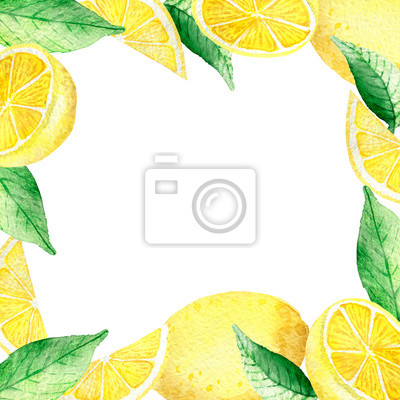 Watercolor painting, frame of yellow lemons with green mint leaves isolated on white background. Watercolor hand painted illustration.