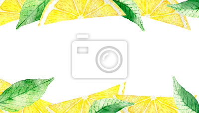 Watercolor painting, frame of yellow lemons with green mint leaves isolated on white background. Watercolor hand painted illustration. Bright fruit and leaf pattern, Wallpaper or textile illustration,