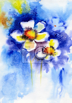 Obraz watercolor painting of  white flowers on a blue background