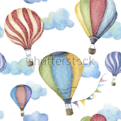 Obraz Watercolor pattern with cartoon hot air balloon. Transport ornament with flag garlands and clouds isolated on white background