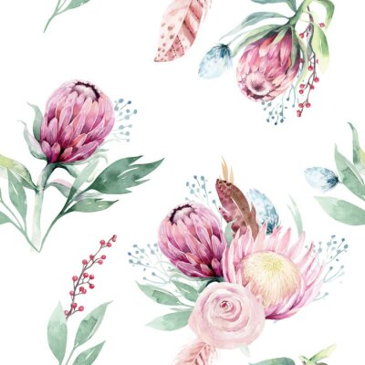 Obraz Watercolor protea seamless pattern. tropical leaves background. Textile texture. Hand drawn illustration