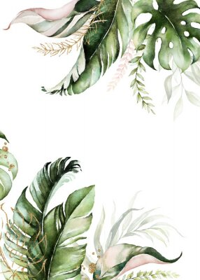 Obraz Watercolor tropical floral border - green, blush & gold leaves. For wedding stationary, greetings, wallpapers, fashion, background.