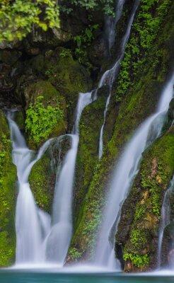waterfall among green moss on stones