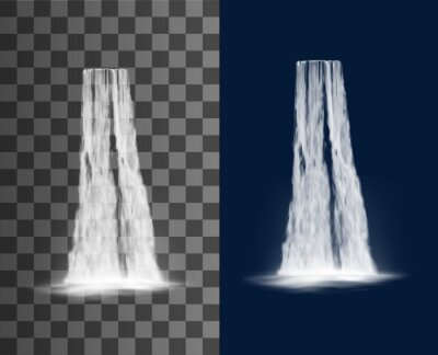 Obraz Waterfall cascade, water fall realistic isolated vector on transparent background. Waterfall cascade from river stream, spring water falling from mountain with splashes, natural park scenery