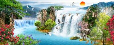 Obraz Waterfall, flying birds