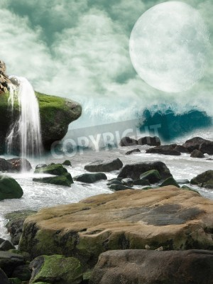 Obraz Waterfall in a fantasy landscape with moon