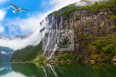 Waterfall in Geiranger fjord Norway